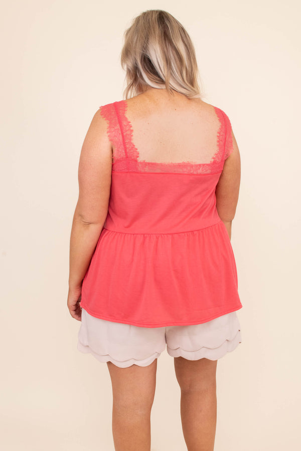 tank, thick straps, vneck, babydoll, flowy, lace trim, coral, comfy, spring, summer