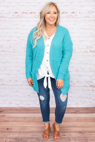 ash mint, sweater, cardigan, solid, bright, open front, long sleeve, comfy, figure flattering