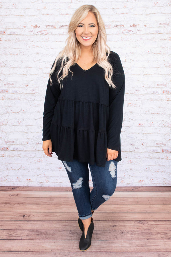 shirt, long sleeve, vneck, babydoll, flowy, ruffles, long, black, comfy, fall, winter