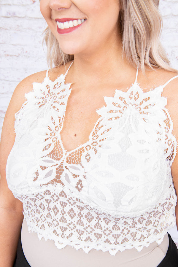 bralette, lace, strappy, crisscross back, adjustable straps, vneck, thick band, white