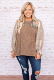 top, brown, print, long sleeves, sleeve detail, round neck, flowy, figure flattering