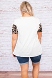 shirt, short sleeve, loose, colorblock, white, leopard, brown, black, comfy