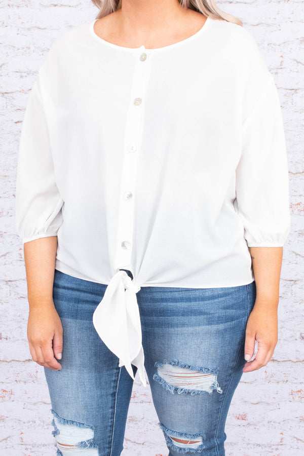shirt, three quarter sleeve, bubble sleeve, short, tie front, button down, white, comfy