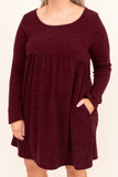 dress, short, long sleeve, babydoll, flowy, pockets, burgundy, comfy, fall, winter
