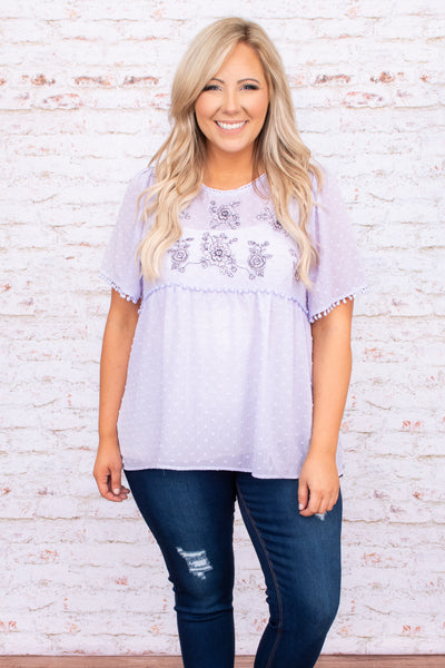 top, casual, babydoll, purple, lavender, embroidered, short sleeve