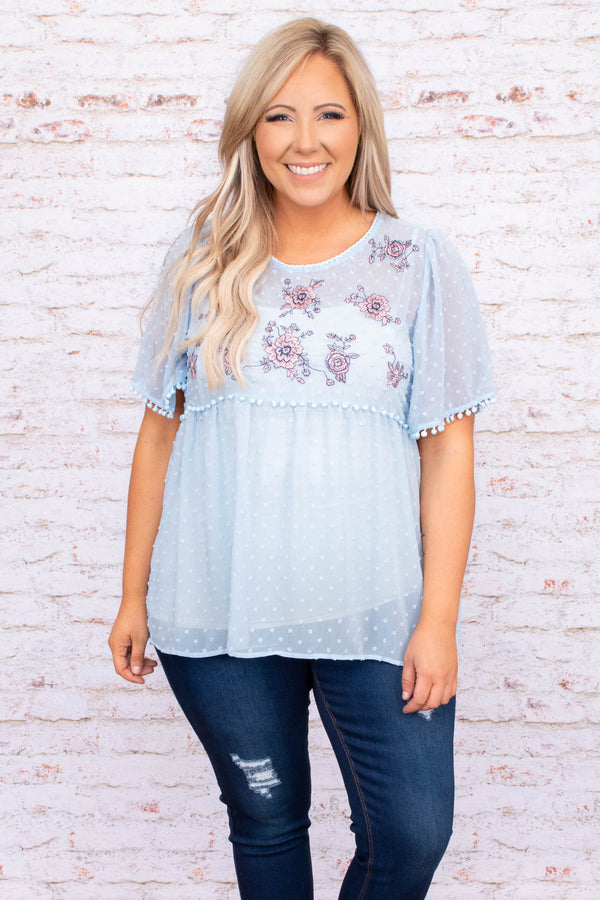 shirt, top, swiss dot, floral, embroidered, short sleeve, baby doll, baby blue, light blue, loose, comfy