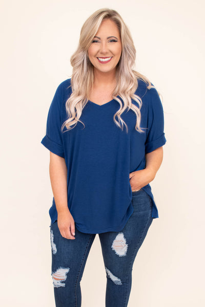 shirt, short sleeve, cuffed sleeves, vneck, loose, comfy, sapphire