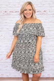 dress, short, short sleeve, off the shoulder, ruffle top, flowy, ruffles, white, black, leopard, comfy