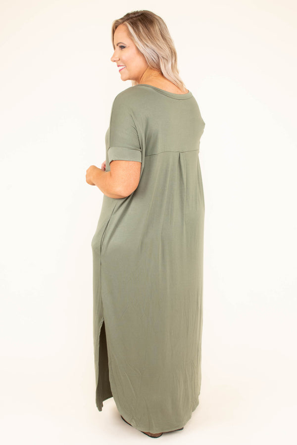 dress, maxi, short sleeve, vneck, side slits, curved hem, flowy, pockets, olive, comfy
