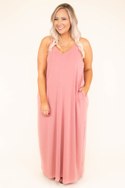 Doing It All Again Maxi Dress, Deep Rose