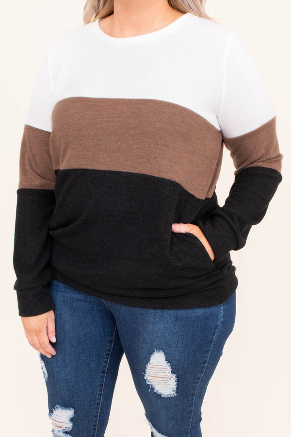 shirt, long sleeve, pockets, fitted, comfy, white, brown, black, colorblock, fall, winter
