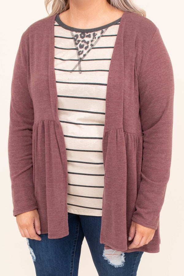 cardigan, long sleeve, long, babydoll, flowy, mauve, longer back, comfy, outerwear