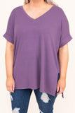 shirt, short sleeve, vneck, side slits, flowy, lavender, comfy, cuffed sleeve