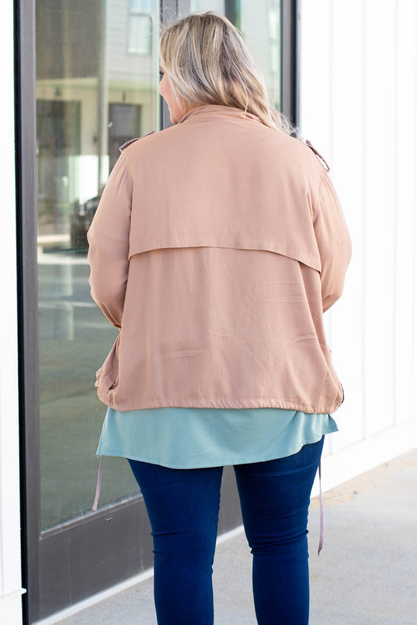 jacket, long sleeve, pockets, drawstring hem, zip up, taupe, comfy, outerwear