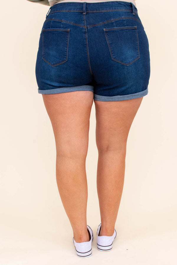 pants, shorts, dark wash, blue, cuffed hem, solid, no distressing
