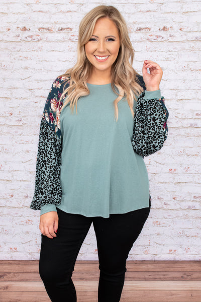 top, casual top, green, mint, leopard, floral, long sleeve, casual, comfy