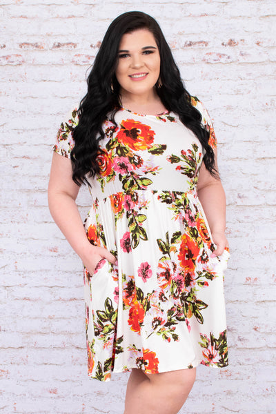 dress, short, short sleeve, babydoll, pockets, flowy, white, floral, orange, yellow, pink, green, comfy, spring, summer