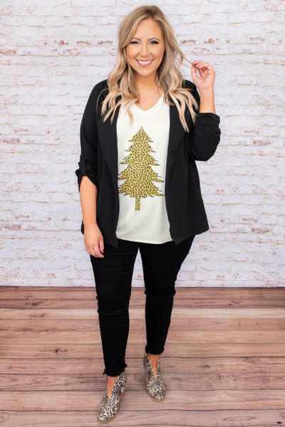 top, tee, white, graphic, short sleeve, christmas, holiday, vneck, comfy, casual, christmas tree, leopard