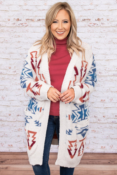 top, cardigan, white, blue, red, orange, aztec, long sleeve, fuzzy, soft, comfy
