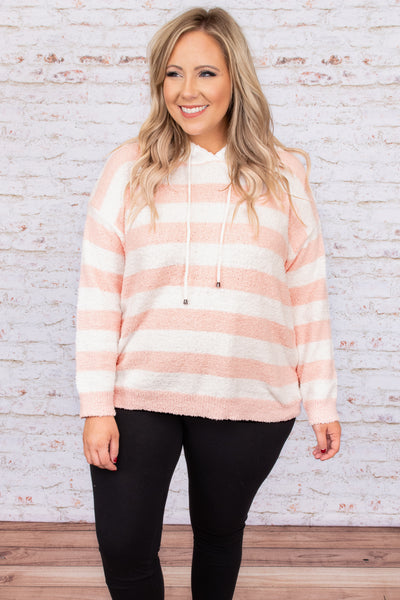 top, hoodie, pullover, pink, blush, ivory, white, striped, long sleeve, fluffy, cozy, comfy