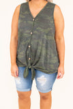 top, tank top, camo, green, button detail, tie at the bottom