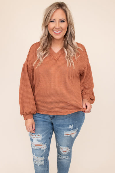 top, sweater, orange, solid, long sleeve, vneck, casual, comfy, rust