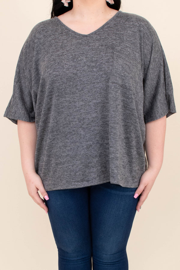 shirt, short sleeve, vneck, curved hem, loose, gray, heathered, comfy