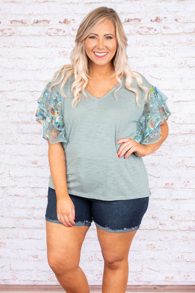 shirt, short sleeve, vneck, ruffle sleeves, mint, floral sleeves, white, yellow, orange, comfy