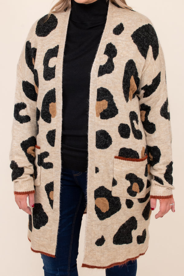 top, cardigan, brown, oatmeal, leopard, long sleeve, comfy, warm, layer
