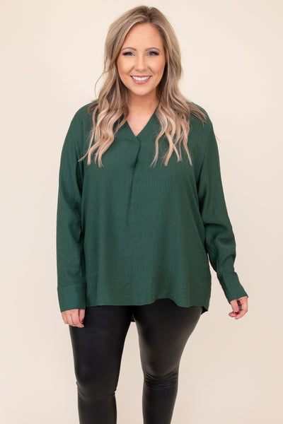 top, shirt, blouse, green, hunter green, solid, long sleeve, v neck