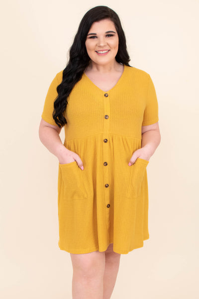Could This Be Love Dress, Mustard
