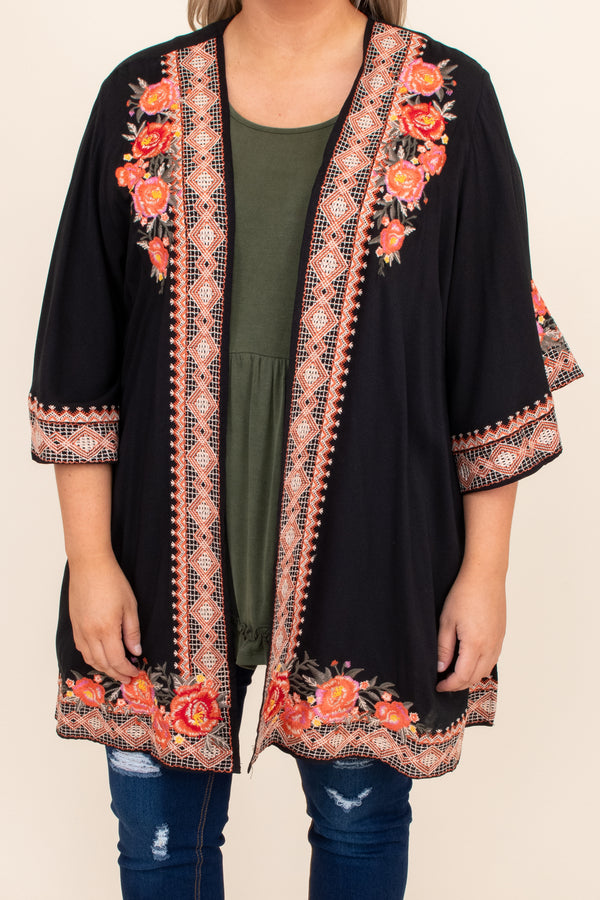 open front, kimono, floral, detail, embroidery, black, short sleeve, flowy