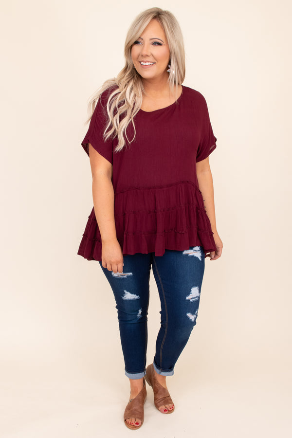 top, ruffle, baby doll, short sleeve, flowy, tiered, neutral, solid, wine