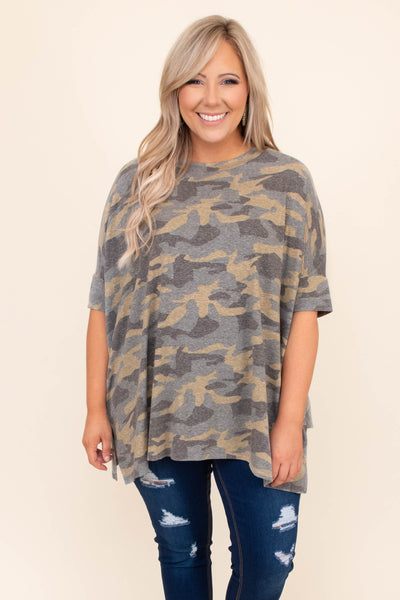 shirt, top, tunic, long, loose, comfy, short sleeve, camo, olive, green, gray, beige