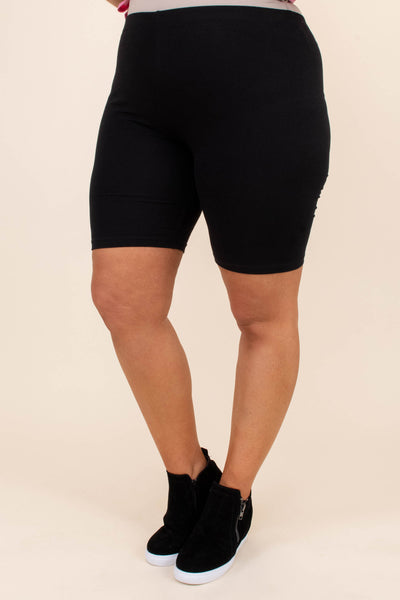biker shorts, above knee, fitted, black, stretchy, comfy, elastic waist