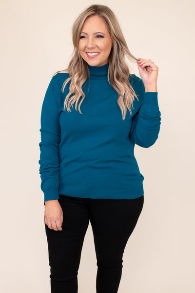 top, sweater, blue, solid, long sleeve, turtleneck, ribbed, teal