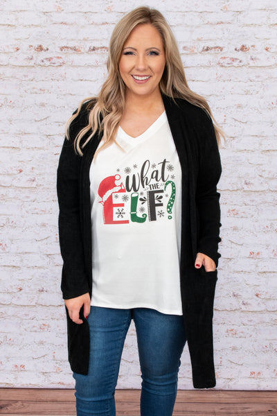top, tee, white, graphic, graphic tee, long sleeve, v neck, Christmas, Holidays, elf, Santa