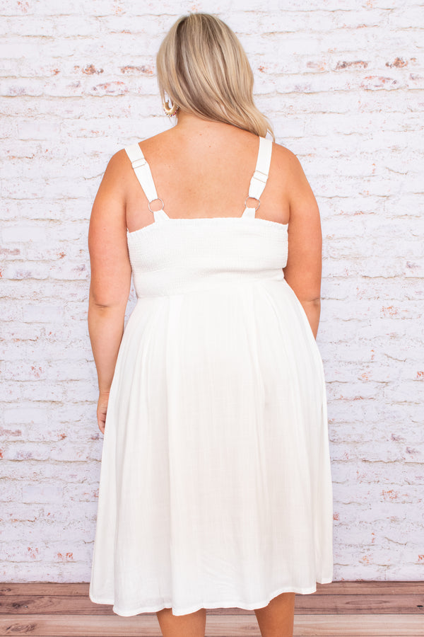 midi, dress, solid, white, buttons, sleeveless, flowy, figure flattering, bow