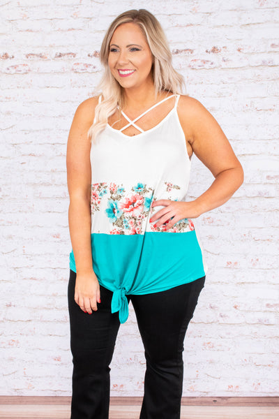 tank, crisscross neckline, tie front, long, white, floral, red, blue, green, colorblock, comfy, spring, summer
