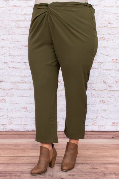 twisted hemline, figure flattering, pant, neutral, green, trendy, olive, detail