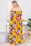 dress, maxi, long sleeve, off the shoulder, flowy, fitted top, mustard, floral, red, green, white, pink, comfy
