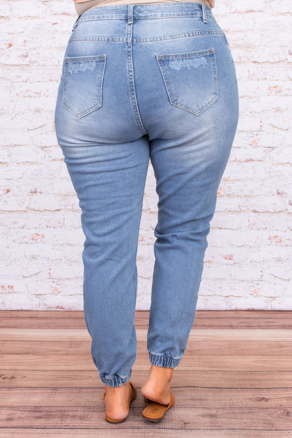 bottoms, jeans, distresse,d cinched, pockets, buttons, blue, loose, figure flattering