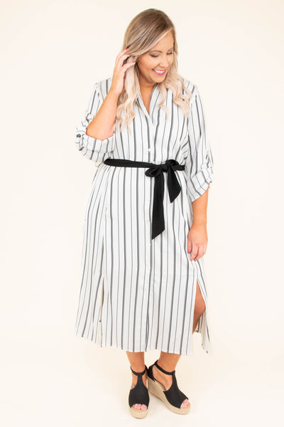 dress, midi, three quarter sleeves, vneck, button down, tie waist, cuffed sleeves, gray, white, striped, slit sides, flowy, comfy