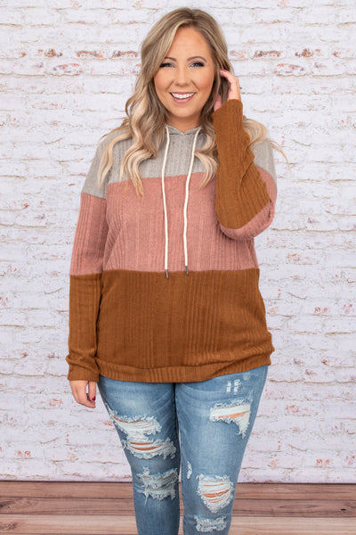 top, hoodie, pullover, drawstring, orange, pink, knit, gray, rust, colorblock, long sleeve