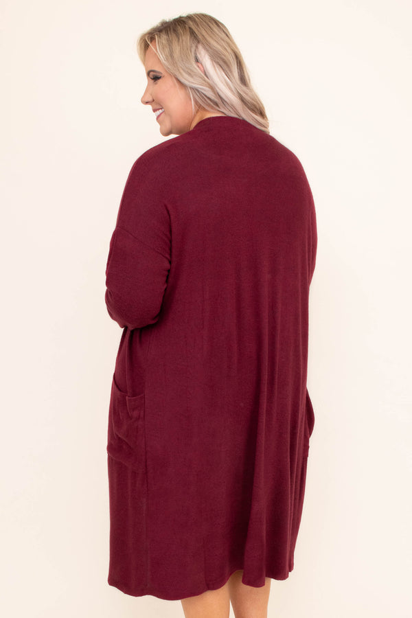 cardigan, long sleeve, calf length, pockets, flowy, burgundy, comfy, outerwear