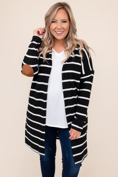 top, cardigan, black, white, elbow patch, striped, solid, long sleeve
