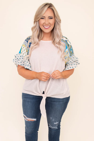 shirt, short sleeve, ruffle sleeves, tie front, oatmeal, paisley sleeves, navy, blue, yellow, comfy