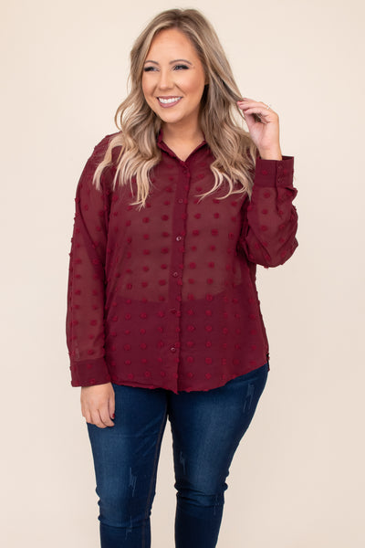 top, casual top, red, polka dot, long sleeve, burgundy, button up, collared shirt