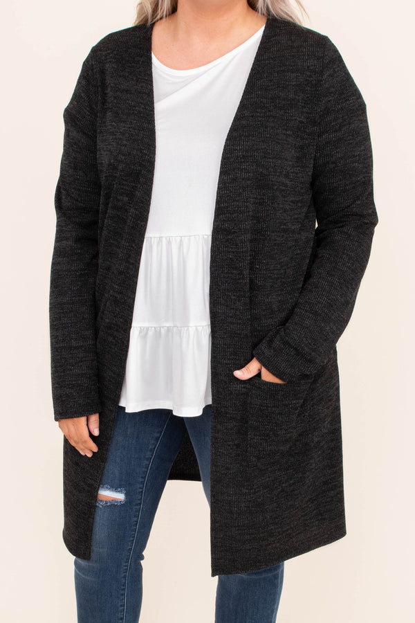 cardigan, long sleeve, long, flowy, black, heathered, elbow patches, pockets, comfy