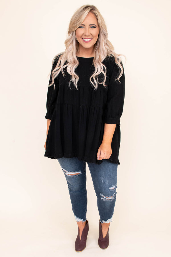 shirt, three quarter sleeve, bubble sleeves, babydoll, tiered, flowy, long, black, comfy